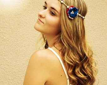 Red white blue flower headband, patriotic, usa, hair piece, hair accessory, 4th of july, queen princess, hair jewelry, tiarra, hair flowers