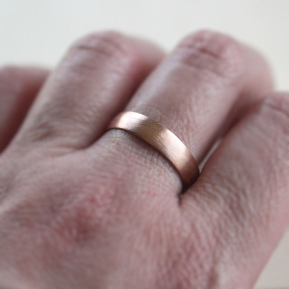 Rose gold mens wedding band brushed 45mm low dome 14k rose gold mens wedding band brushed 45mm low dome 14k recycled hand carved rose gold wedding ring made in your size junglespirit Choice Image