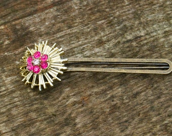Shooting Star Vintage Hair Clip, Gold Bobby Pin, Pink Rhinestone, Retro, Valentine, February, Flower Clasp, Copper, Tie Clip, Sun