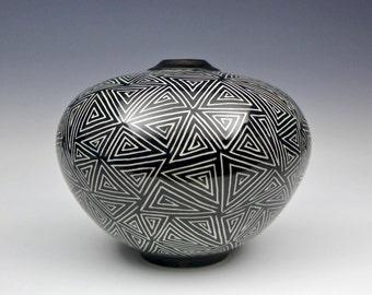 Black and White Porcelain Sgraffito Vase