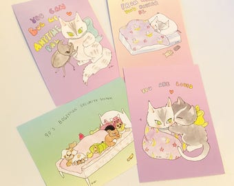 Set of four watercolour mini prints
