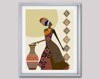 Afrocentric Art, African Woman  Art,  African Art painting, Black Woman Painting, Black Woman, Afrocentric  Decor