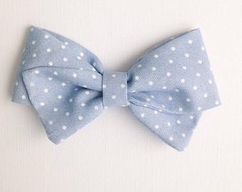 Sailor Bow - Chambray Polka Dot - Baby girl - Nylon Headbands - Fabric hair bows/clips - Infant/Toddler