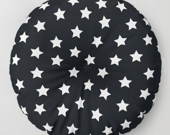 Floor Pillows for Kids, Black and White Stars Cushion Set , Round or Square Floor Cushion Seating, 26x26, 30x30, Dorm Decor, Kids Room Decor