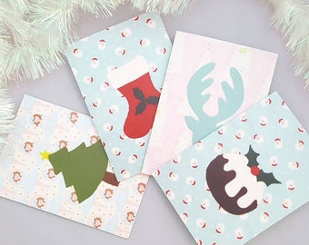 Set of Four Christmas/Holiday/Festive cards felt applique