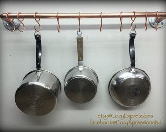Handcrafted Hanging Copper Pot and Pan Rack | Kitchen Storage | Copper Kitchen Ceiling mount pan rack | Kitchen Accessory