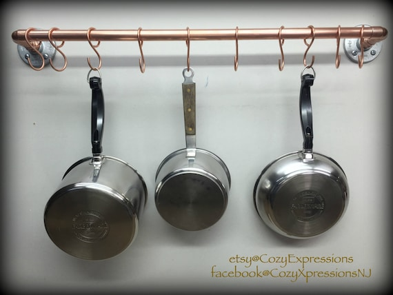 Handcrafted Hanging Copper Pot And Pan Rack Kitchen Storage - Pot and pan hanger for kitchen