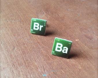 Breaking Bad Earrings BrBa Stud Earrings Periodic Elements