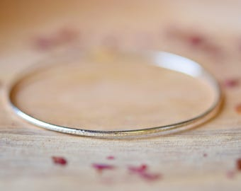 Thin Hammered Bangle | Silver Hammered Bangle | Gift For Her | Christmas Gift JewelryMother's Day Gift