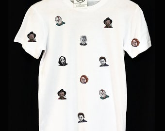 Horror Movie Villains Pattern T-Shirt Chucky Freddy Krueger Jason Pinhead
