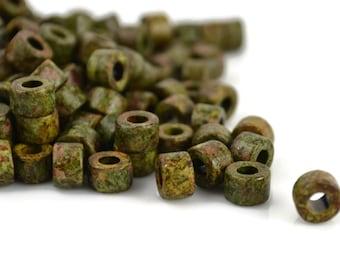 Mykonos Mini Tube - Heathered Green - 6x4mm - Greek Ceramic Beads - QTY: 50, 100 or 150