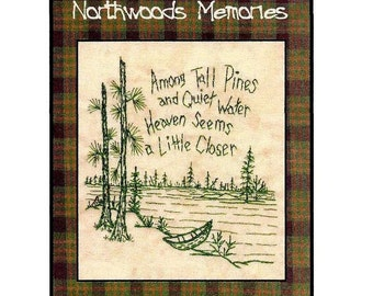 Northwoods Memories Tall Pines - Redwork Hand Embroidery Pattern by Beth Ritter - Instant Digital Download