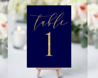 Navy Blue Table Numbers, Table Numbers for Wedding, Gold Table Numbers, Table Numbers Template, Table Numbers, Wedding Table Markers