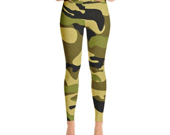 Green Brown Black Camo Camouflage Army Yoga Pants Leggings Cool Creative Gift for Her