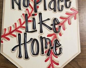 Home Plate Door Hanger, No Place Like Home, Baseball Theme Door or Wall Hanger