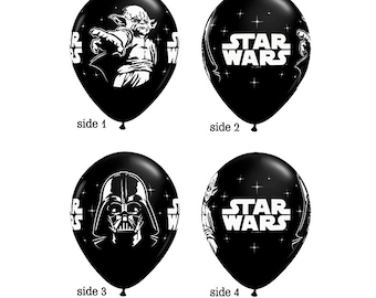 """Set of TWELVE 11"""" Black Latex Balloons, party decoration, Star Wars, FAST SHIP"""