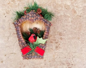 Handmade Winter Decor / Folk Art / Birdhouse with Cardinal