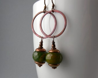 Lucky Green Jade and Copper Earrings with Free USA Shipping