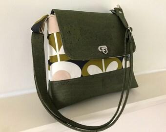 Green cork  Messenger bag,orla Kiely bag,across body bag ,cork bag ,vegan bag ,handbag, purse
