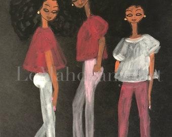 Triplets- African American Wall Art, Black Girl Magic Art, Fashion Wall Art, Black Fashion Illustrations by LeMahogany Art