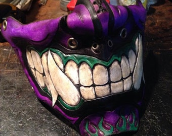 Purple Leather Oni kabuki half mask