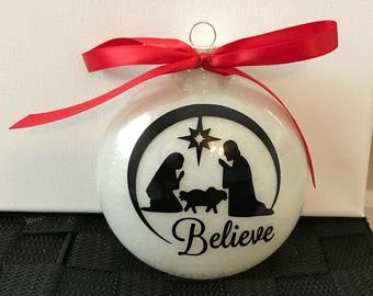 Large Glitter Believe Ornament