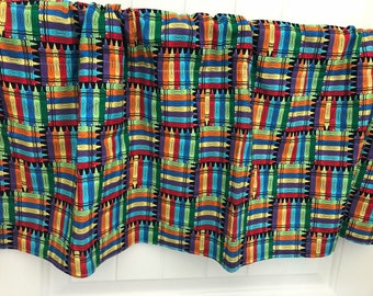 Red orange blue crayon back to school Curtain Valance