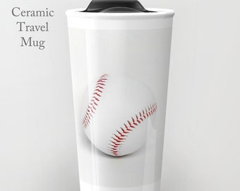 Baseball Travel Mug-Ceramic Travel Mug-Ceramic Mug-12 oz Tumbler-Baseball Coffee Mug-Insulated Travel Mug-White Travel Mug-Sports Tumbler