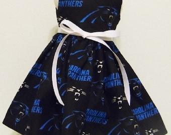 "NFL CAROLINA PANTHERS - 18"" Doll Dress - Carolina Panthers Print Handmade Sleeveless Dress fitting 18"" Dolls - Doll Clothes"