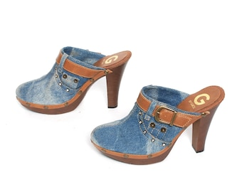 size 7.5 GUESS blue jean 80s 90s CLOGS DENIM vegan leather high heel slip on mules