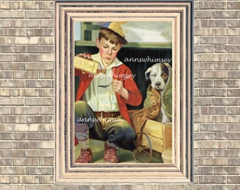 Dog Art, Boy's Room Art, Boy's Room Wall Art,Family Room Art, Kitchen Decor, Guest Room Art,  Doctoring Sick Dog #41