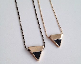 Gold + Black Triangle Necklace
