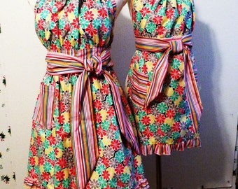 Mom Daughter Floral Ditty Apron Set with Stripe Ties and bottom Ruffle, Gift for Mom, Handmade, Made in the USA, #47MD