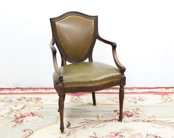 Beautiful Carved Shield Back Sheraton Arm Chair