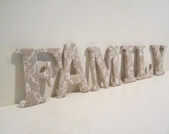 Burlap lace letters | Etsy