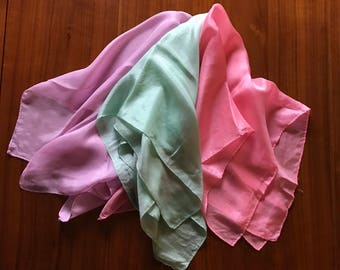 1950s Silk Scarves Solid Colors Lilac, Mint & Pink