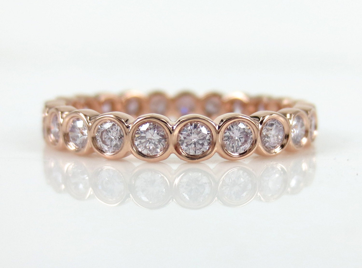 bezel diamond wedding half gold eternity bands rose band rings