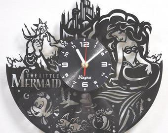 THE LITTLE MERMAID vinyl record clock Little Mermaid vinyl wall decor Disney nursery clock Disney cartoon Little Mermaid Birthday girl gift
