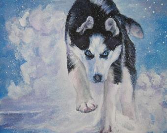 Siberian Husky dog art CANVAS print of LA Shepard painting 12x12