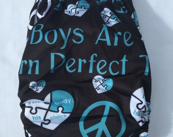 Boys Are Born Perfect Too Cloth Diaper Pocket Style