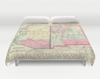 Antique New Mexico - Arizona Map Duvet Cover, Vintage New Mexico Arizona Map Bedding, Old Map Bedspread, Decorative,New Mexico Arizona, dorm
