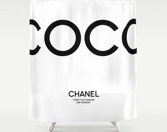 Black And White Bathroom Decor Coco Chanel Shower Curtain