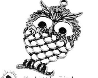1 x 58x37mm Antique silver OWL pendant