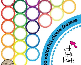 Colorful Circles with Little Hearts - Digital Clip Art