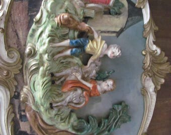 Vintage Empire Art Co. 3D Wall Hanging Florentine Style Boy and Girl French Style