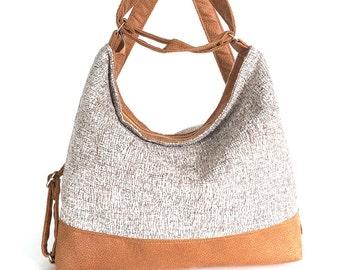 Convertible backpack purse ,hobo bag , women shoulder bag , shoulder tote bag ,fabric hobo purse , shoulder strap purse , women backpack