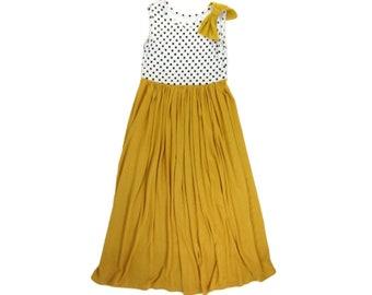 Girls Sleeveless Polkadot and Marigold Maxi Dress, Girls Summer Maxi Dress, Girls Long Dress - Sizes 4/5, 6/6x, 7/8, 10/12 Ready to Ship