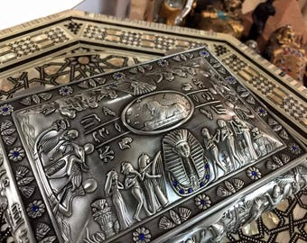 Vintage Pewter  Large Egyptian Jewelry Box Mad in Egypt