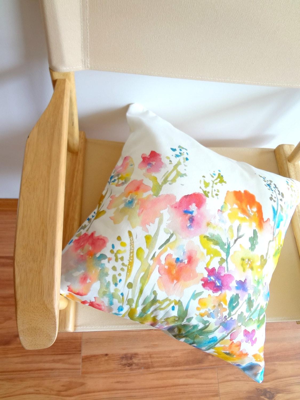 Watercolor Floral Pillow Cover Designer Watercolor Pillow