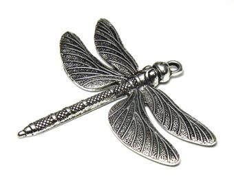 Dragonfly pendant charm in antique silver